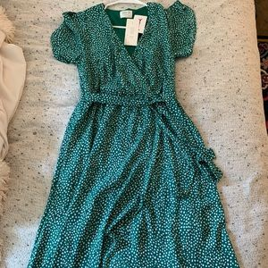 Green Wrap Dress- never worn